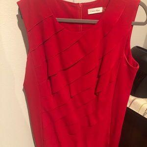 Slanted ruffle sheath dress